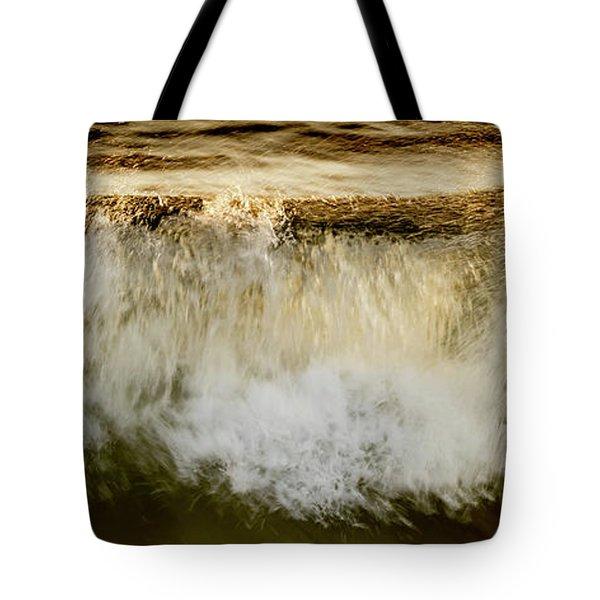 Waves Breaking At The Shore Reflecting Tote Bag