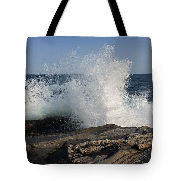 Waves Crashing On Rocky Maine Coast Tote Bag