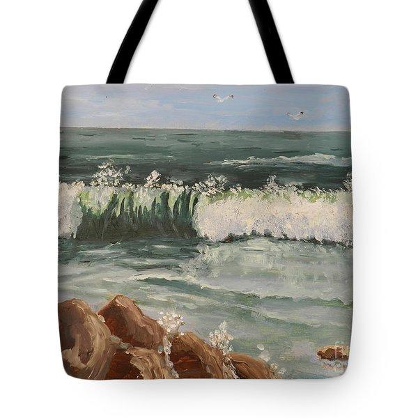 Waves Crashing Tote Bag by Pamela  Meredith