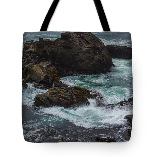 Waves Meet Rock Tote Bag