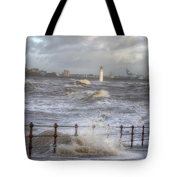 Waves On The Slipway Tote Bag