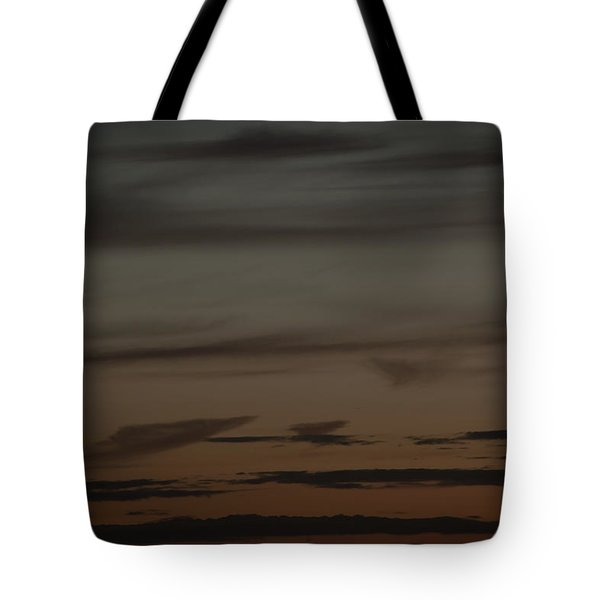 Waxing Crescent Moon Over Purple And Orange Evening Sky Tote Bag