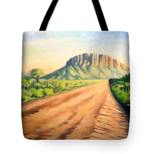 Tote Bag featuring the painting Way To Maralal by Anthony Mwangi