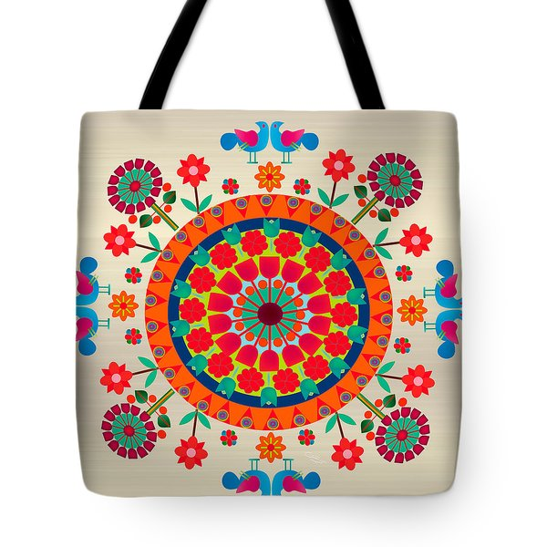 Wayuu Art Orange Sun Tote Bag by Gabriela Delgado