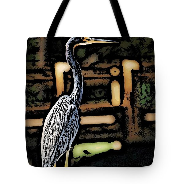 Tote Bag featuring the digital art Wc Great Blue by David Lane