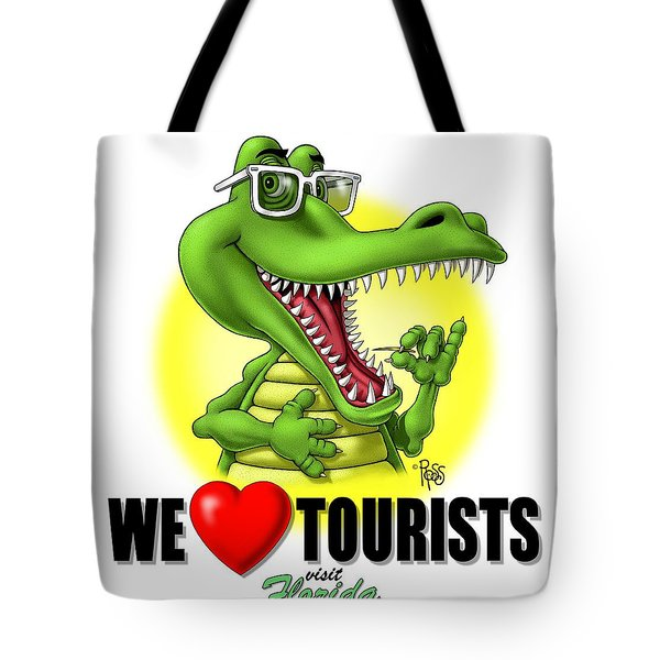 Tote Bag featuring the digital art We Love Tourists Gator by Scott Ross