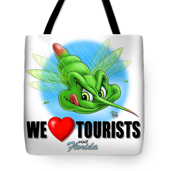 We Love Tourists Mosquito Tote Bag by Scott Ross