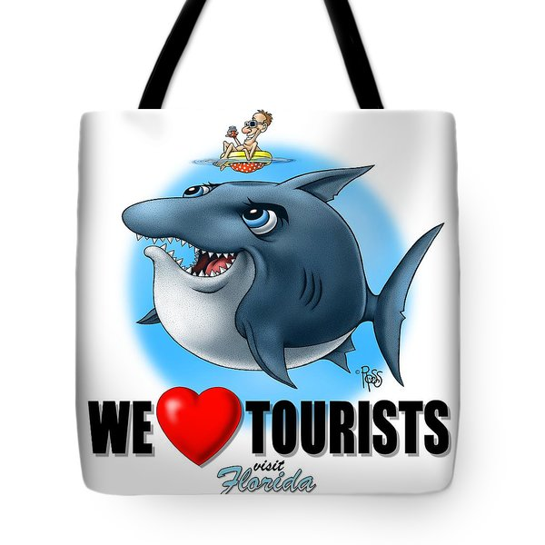 Tote Bag featuring the digital art We Love Tourists Shark by Scott Ross