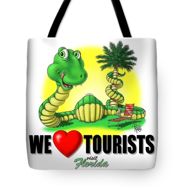 We Love Tourists Snake Tote Bag