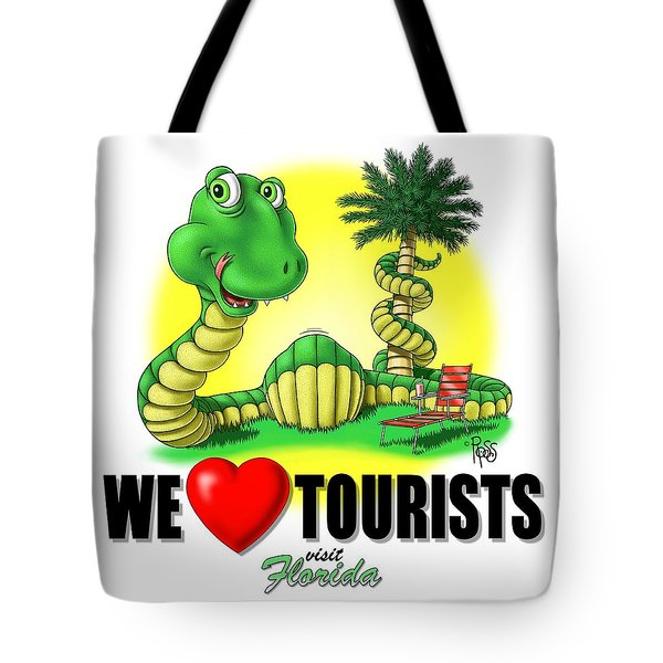 We Love Tourists Snake Tote Bag by Scott Ross