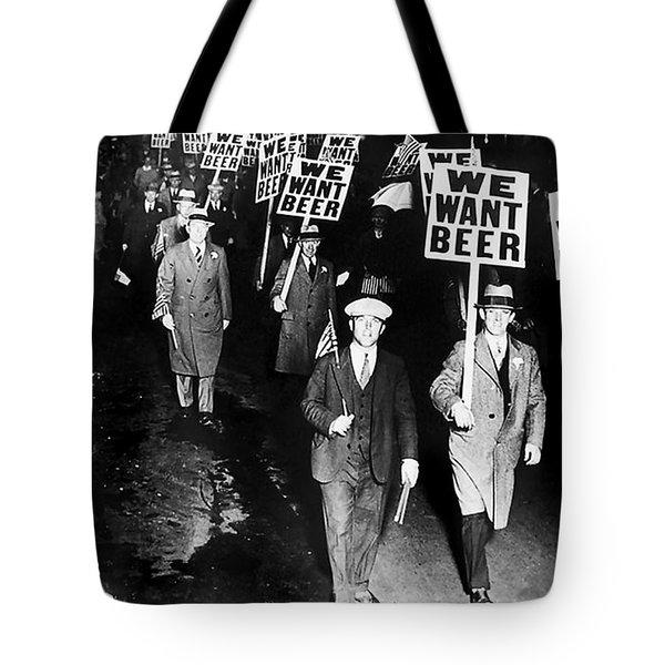 We Want Beer Tote Bag by Jon Neidert
