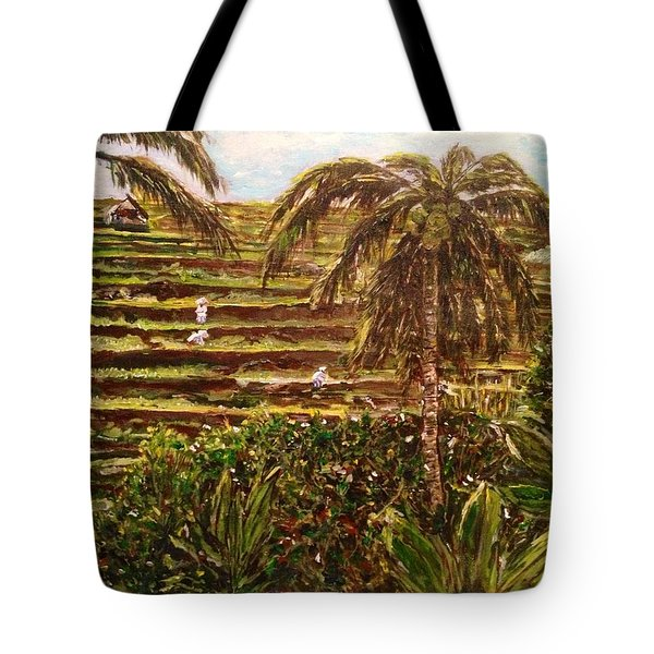 Tote Bag featuring the painting We Work Hard For The Money by Belinda Low