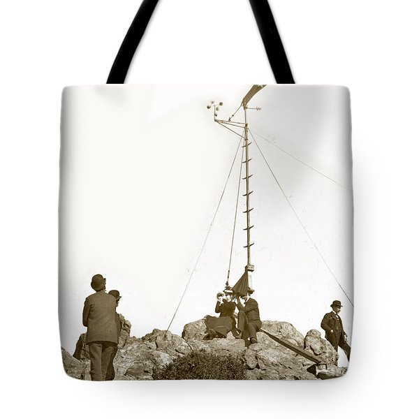 Tote Bag featuring the photograph Weather Station Mount Tamalpais Marin County California Circa 1902 by California Views Mr Pat Hathaway Archives