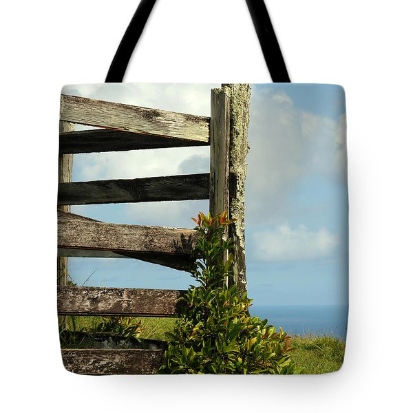 Weathered Fence Tote Bag by Vivian Christopher