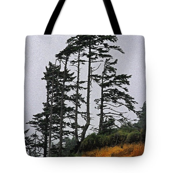 Weathered Fir Tree Above The Ocean Tote Bag by Tom Janca