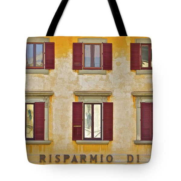 Tote Bag featuring the photograph Weathered Windows Of Cortona by David Letts