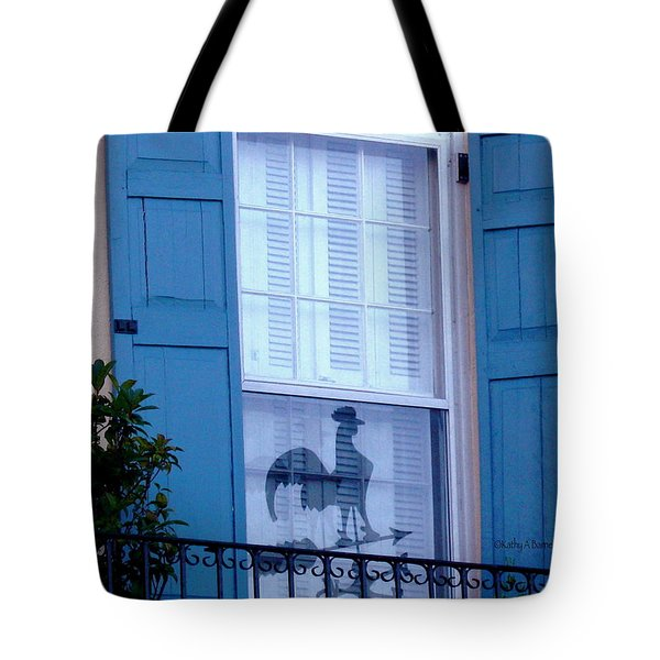 Tote Bag featuring the photograph Charleston Weathervane Reflection by Kathy Barney