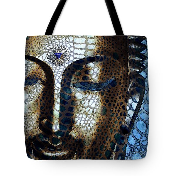 Tote Bag featuring the digital art Web Of Dharma - Modern Blue Buddha Art by Christopher Beikmann