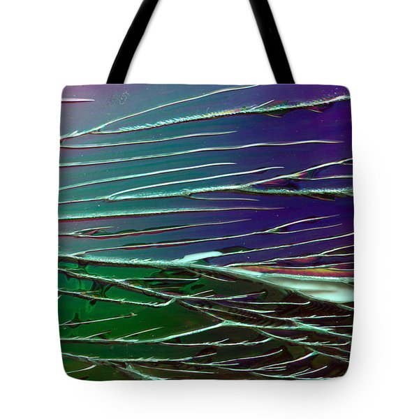 Webs Of Green And Purple Tote Bag