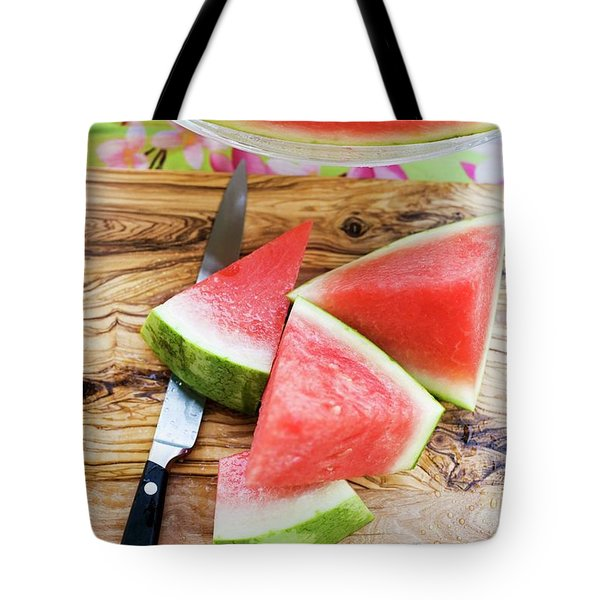 Wedges Of Watermelon And Knife On A Wooden Board Tote Bag