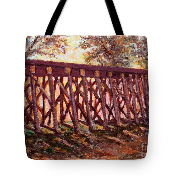 Tote Bag featuring the painting Wednesday At The Railroad Bridge by Rita Brown
