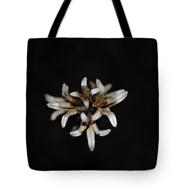 Tote Bag featuring the photograph Weed On Black by Mim White