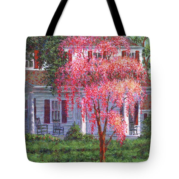 Weeping Cherry By The Veranda Tote Bag by Susan Savad