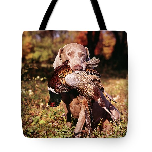 Weimaraner Hunting Dog Retrieving Ring Tote Bag