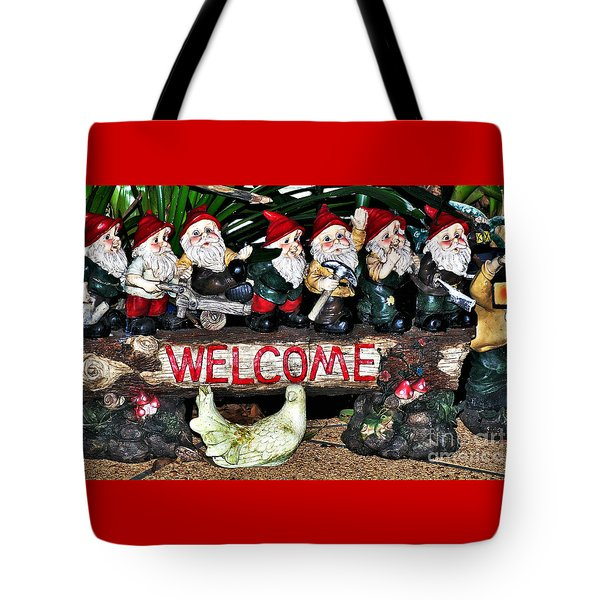 Welcome From The Seven Dwarfs Tote Bag by Kaye Menner