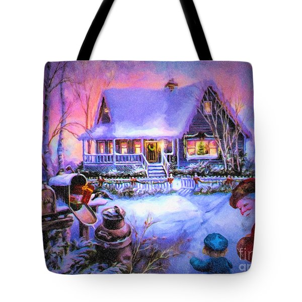 Tote Bag featuring the digital art Welcome Santa - Retro Vintage Inspired Christmas Scene by Lianne Schneider