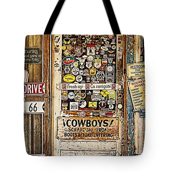 Welcome To Hackberry General Store Tote Bag by Priscilla Burgers