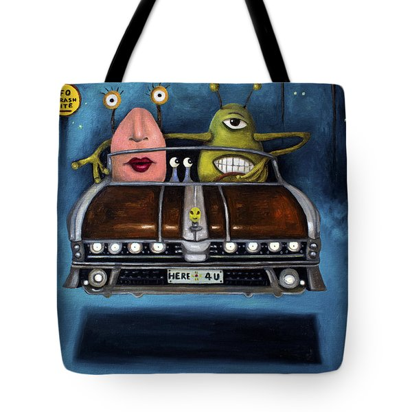 Welcome To Roswell Tote Bag by Leah Saulnier The Painting Maniac