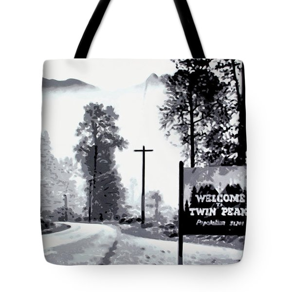 Tote Bag featuring the painting Welcome To Twin Peaks by Luis Ludzska