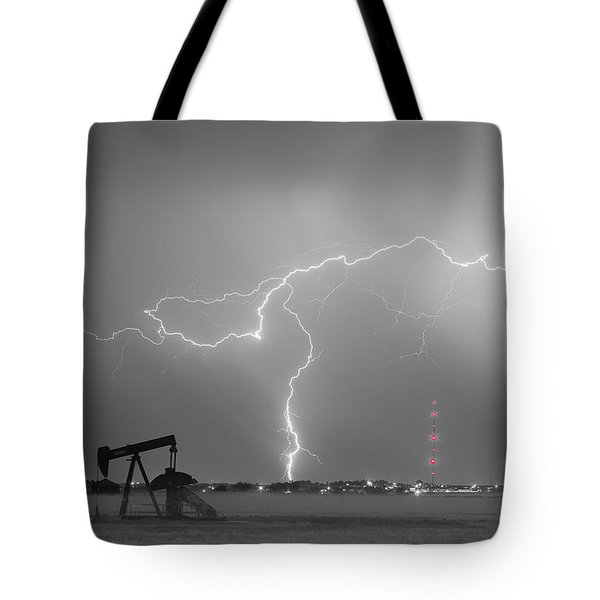 Weld County Dacona Oil Fields Lightning Thunderstorm Bwsc Tote Bag by James BO  Insogna