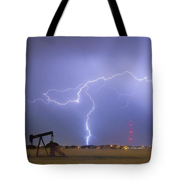 Weld County Dacona Oil Fields Lightning Thunderstorm Tote Bag by James BO  Insogna