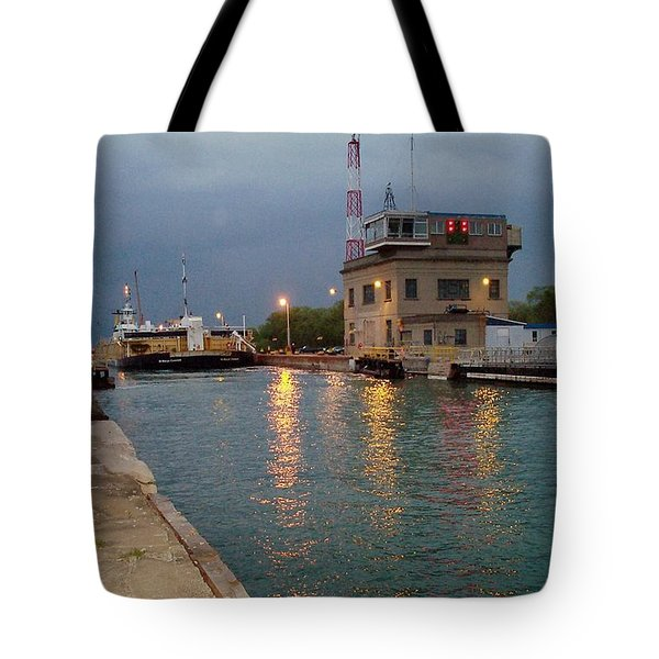 Tote Bag featuring the photograph Welland Canal Locks by Barbara McDevitt