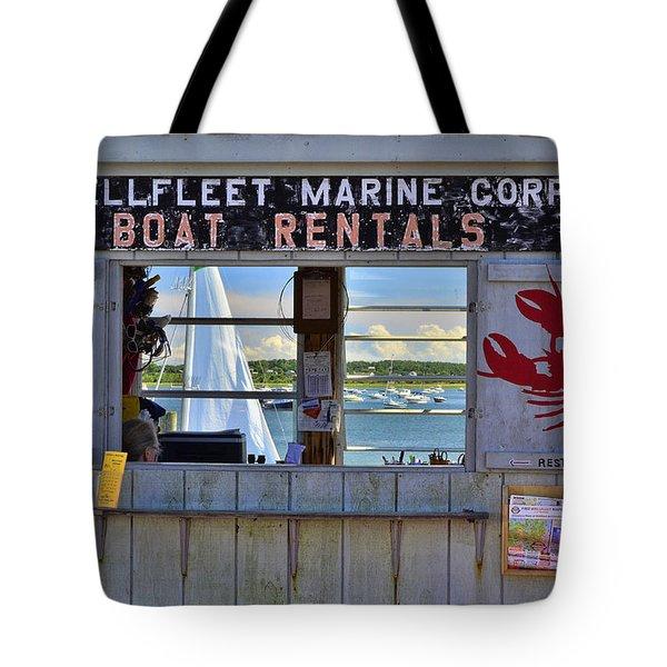 Wellfleet Harbor Thru The Window Tote Bag