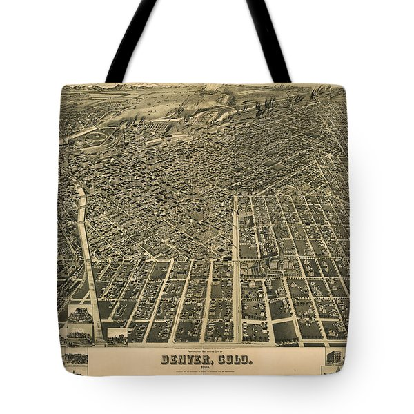 Wellge's Birdseye Map Of Denver Colorado - 1889 Tote Bag