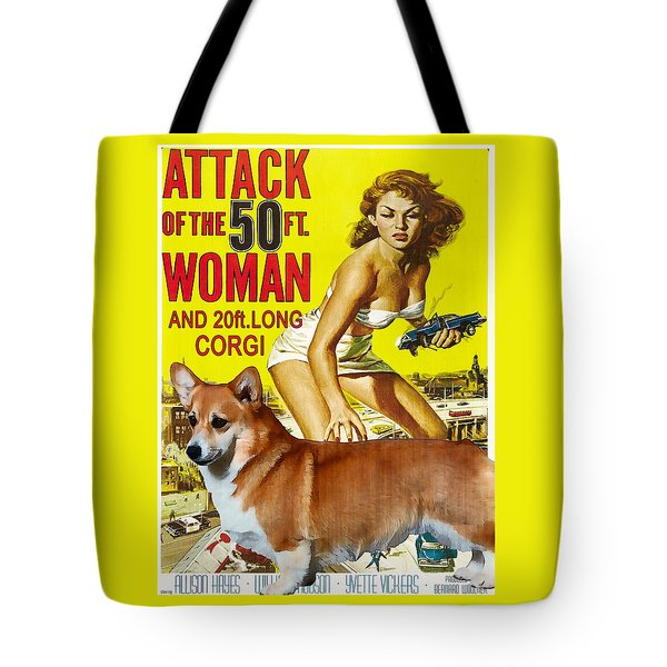 Welsh Corgi Pembroke Art Canvas Print - Attack Of The 50ft Woman Movie Poster Tote Bag