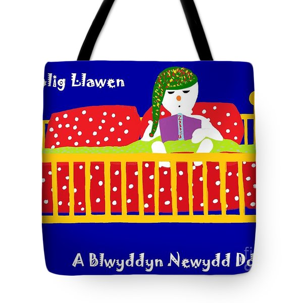 Tote Bag featuring the digital art Welsh Snowman Bedtime  by Barbara Moignard