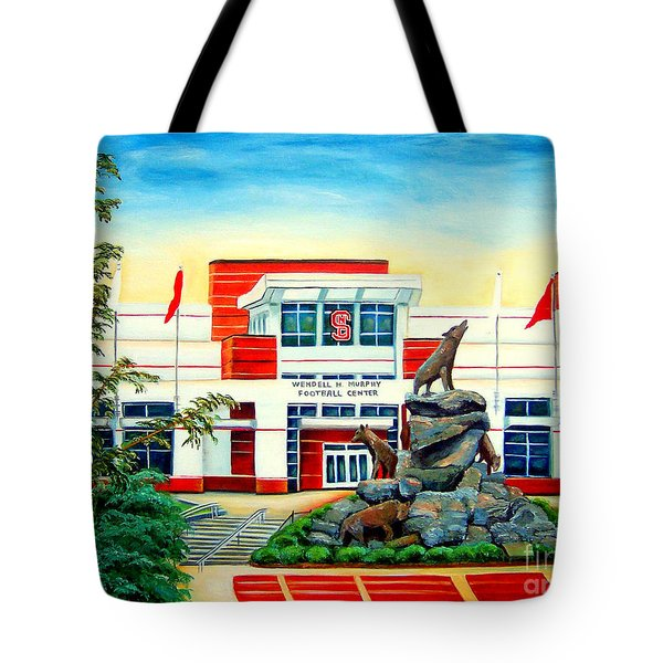 Tote Bag featuring the painting Wendell H. Murphy Football Center by Shelia Kempf