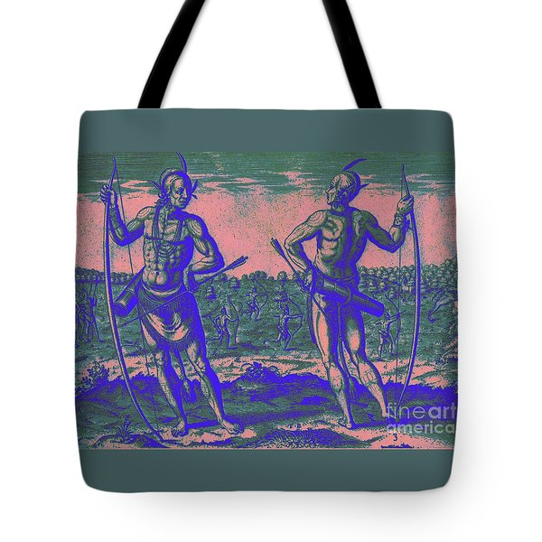 Tote Bag featuring the drawing Weroans Of Virginia 1590 by Peter Gumaer Ogden