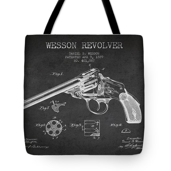 Wesson Revolver Patent Drawing From 1889 - Dark Tote Bag