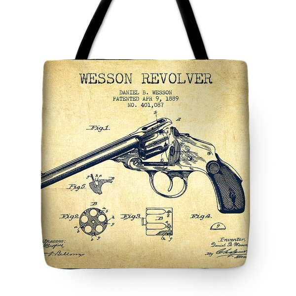 Wesson Revolver Patent Drawing From 1889 - Vintage Tote Bag
