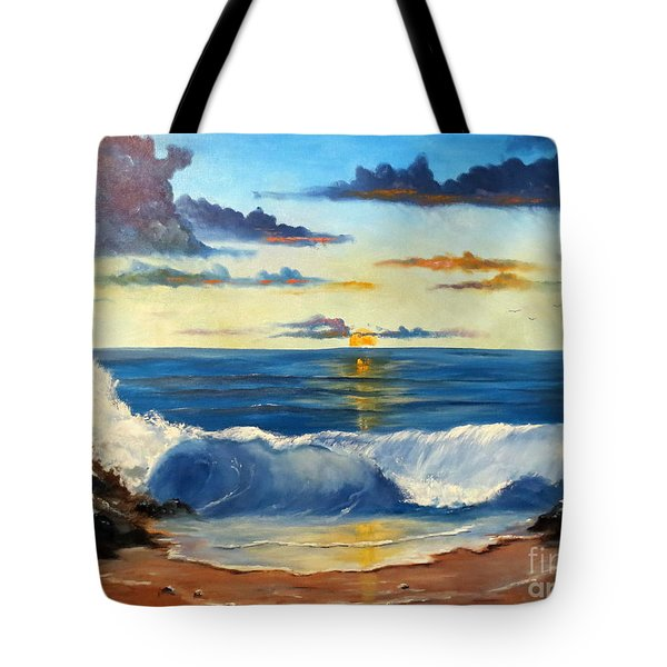Tote Bag featuring the painting West Coast Sunset by Lee Piper