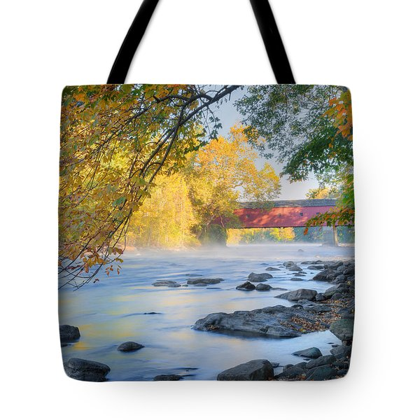 Tote Bag featuring the photograph West Cornwall Covered Bridge Autumn by Bill Wakeley