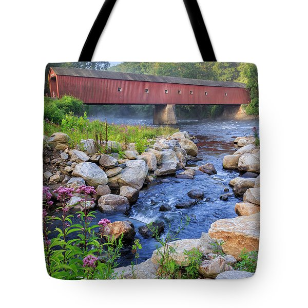 Tote Bag featuring the photograph West Cornwall Covered Bridge Summer by Bill Wakeley