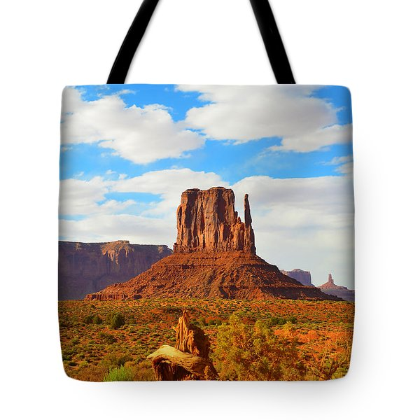 West Mitten At Monument Valley Tote Bag by Debra Thompson