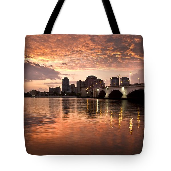 West Palm Beach Skyline At Sunset Tote Bag