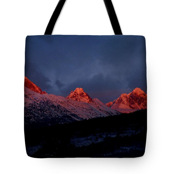 Tote Bag featuring the photograph West Side Teton Sunset by Raymond Salani III